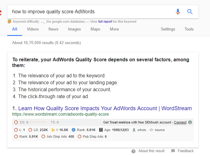 How to improve adwords quality score